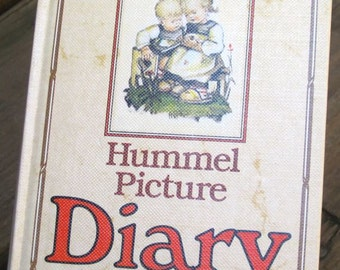 Diary notebook journal Small book Vintage Hummel unused 1984 West Germany 14 illustrated pictures gift nursery child art decor display
