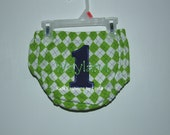 Personalized Lime Green Argyle with Navy Pin Dot Number/Green Name Diaper Cover