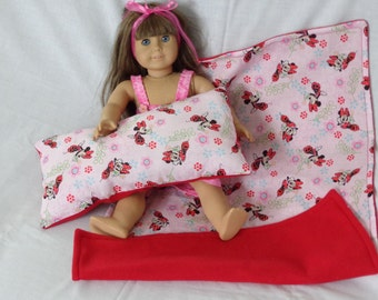 18  inch Doll Clothes American Girl MINNIE MOUSE BLANKET and Pillow, Flowers