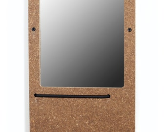 The Elefuction Mirror Small in Wheat board with key holder magnets and eyewear bungee.