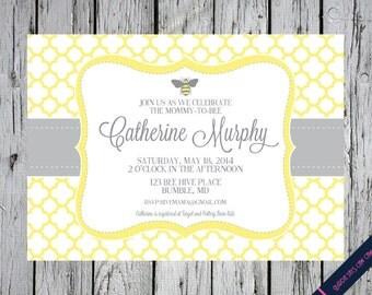 Elegant Mommy to Bee Baby Shower Invitation (Birthday, Baby Shower, Engagement, Rehearsal) Printable Custom Preppy