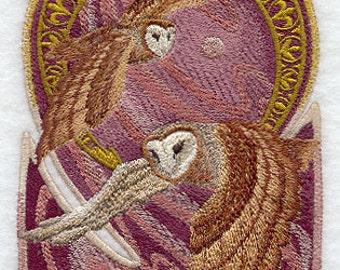 Art Nouveau Owl Duo Embroidered Flour Sack Hand/Dish Towel