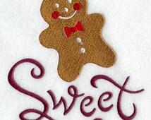 Sweet Christmas Gingerbread Man Embroidered Flour Sack Hand/Dish Towel