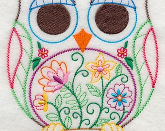 Springtime Owl Embroidered Flour Sack Hand/Dish Towel