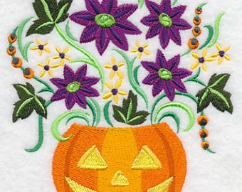 Pretty Petals in a Pumpkin Embroidered Flour Sack Hand/Dish Towel