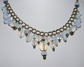 Opalite Moon Stone Chunky Style Antique Brass Statement Necklace