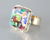 Vintage Sterling silver Enamel Ring, Coyote Southwestern Abstract jewelry CR Dunetz