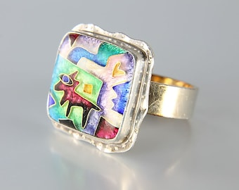 Sterling silver Enamel Ring, Coyote Southwest Abstract jewelry CR Dunetz Vintage designer