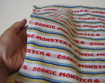 Vintage Cookie Monster Polyester Fabric - red, yellow and blue