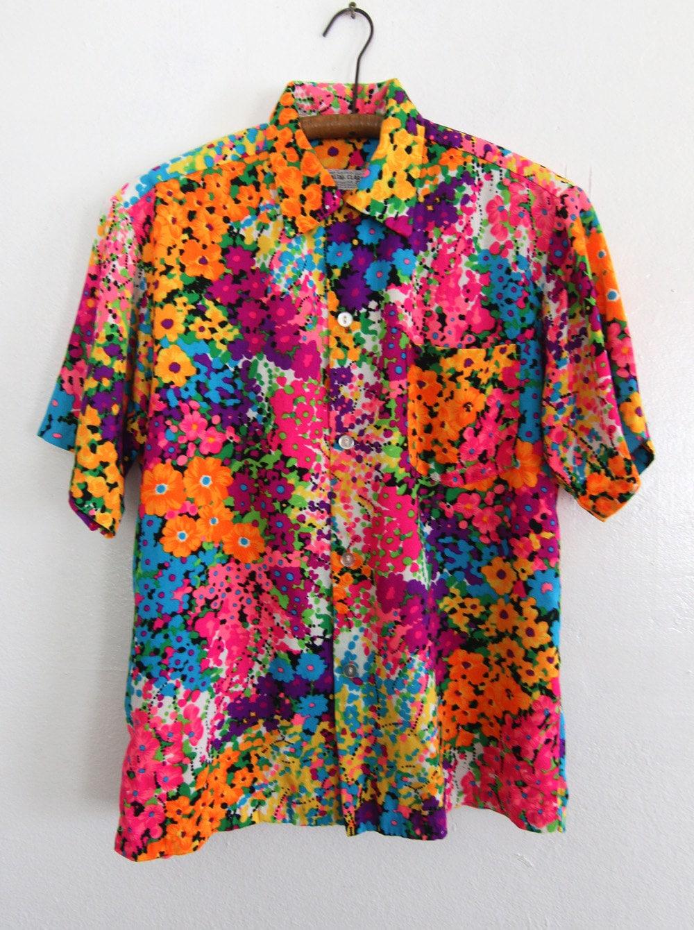 60s Neon Hawaiian Shirt