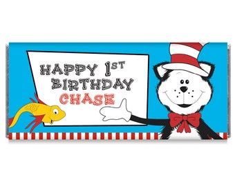 1st Birthday Cat Personalized Candy Bar Wrappers - Set of 12