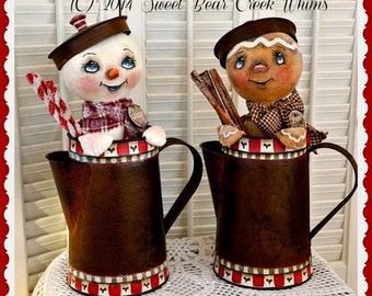 Primitive Snowman and Gingerbread Pattern, pdf Holiday E pattern, coffee pot cuties, PDF digital download pattern, sewing pattern