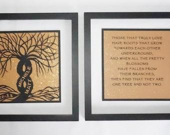 1st ANNIVERSARY Gift 2 Trees Of Life As One Black Silhouette Paper Cut ORIGINAL Design CUSTOM ORDeR Framed Signed Symbolic Art Handcut  OoAK