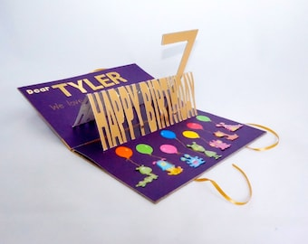 HAPPY 7th BIRTHDAY Card w/Pop Up 3D Letters & 7 Opens Flat ORIGINAL Handmade Made in Gold Purple Rainbow, Personalized Custom Order OOaK