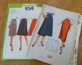 """Vintage skirt patterns, 1977 and 1957, waist 30 and 24"""", free shipping"""