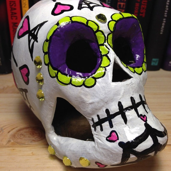 Pink, Purple, and Green Day of the Dead Skull with Hearts