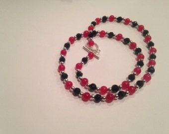 Handmade pink & black gemstone necklace