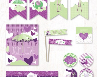 Showered with Love Baby Shower - Instant Download PRINTABLE Party Kit (Purple & Green)