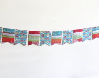 Paper Bird Banner, Blue and Red Bunting, Pennant Flag Streamer, Rectangle Party Garland, Whimsical Double Sided Banner