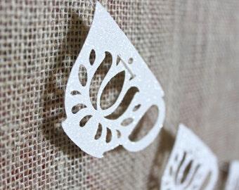 Tea Cup Garland - Tea Party Decoration - Teacup Bunting - Wedding Decoration - Brithday Decor - Tea Cup - Bridal Shower - White Glitter