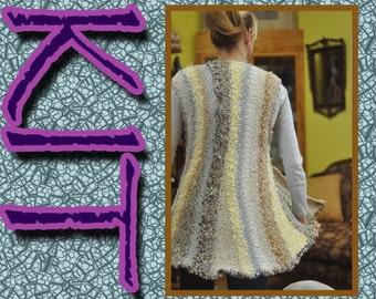 Swing jacket or vest KIT, Lucci Yarn, Knit, Vertical, Multi color, sparkle