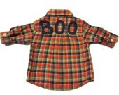 Baby Halloween Shirt - Ghost & Boo Appliques with Eyepatch Upcycled on Orange and Green Plaid Flannel Button Up - 0-3 Mos