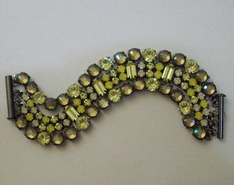 "Yellow Opal Bracelet Jonquil 6 Inch Bracelet 6 + 1/4""  4 Row Bracelet Multi Strand Rhinestone Bracelet Yellow Rhinestone Bracelet"
