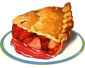 Strawberry Pie Slice Desert Food - Digital Image - Vintage Art Illustration - Instant Download