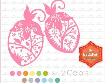 Flowery Acorn Clip Art. 12 Colors. Personal and Small Commercial Use.BP 0935