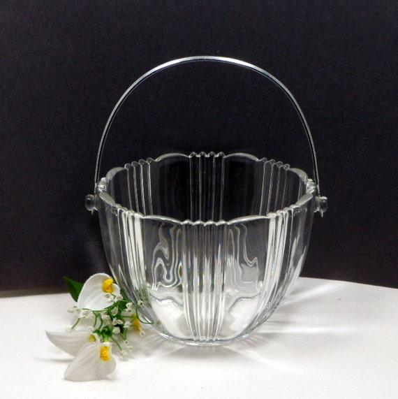 Vintage Ice Bucket Crystal Glass Round Fostoria Sun Ray Elegant Glass Barware