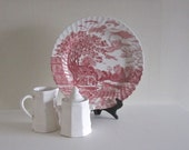 Red and White Toile Platter - English Country Cottage