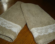 Tan hand towel with ecru scalloped lace, 100% cotton terry, shabby chic/cottage chic decor, hostess gift, under 10