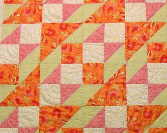 Baby Quilt, Peach, Pink and Tan