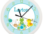 Pond Animal Turtle and Duck Personalized Nursery Wall Clock