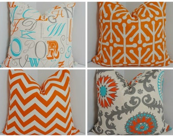 Turquoise Blue Grey Orange Suzani Pillow Cover Coordinating Decorative Throw Pillows 18x18