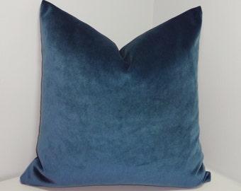 JB Martin Cyan Velvet Decorative Pillow Cover Teal Blue Velvet Pillow Cover Choose Size