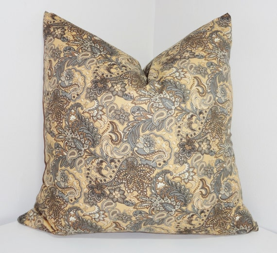 items similar to brown grey tan paisley print pillow cover decorative throw pillow 18x18 on etsy. Black Bedroom Furniture Sets. Home Design Ideas