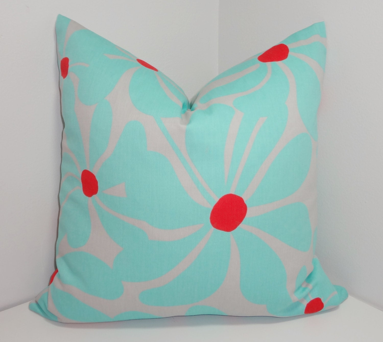 Large Blue Decorative Pillows : Decorative Pillow Large Blue Floral Red & Grey Print Pillow