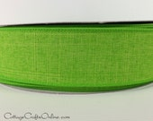 "Wired Ribbon 1- 1/2"" Lime Green Linen Look, THREE YARDS - Reliant  ""Linen Country"", Citrus Green Craft Ribbon #9"