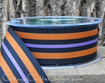 "CLEARANCE! Halloween Ribbon, 1 1/2"", Orange, Purple and Black Grosgrain Woven Stripe - THREE YARDS - May Arts Unwired Ribbon, Sewing Trim"