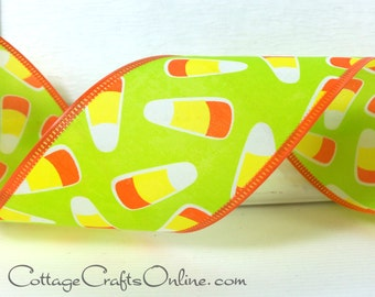 "Halloween Wired Ribbon, 2 1/2"" wide, Orange and Yellow Candy Corn on Green - THREE YARDS -   Fall / Autumn / Decor / Craft Wire Edged Ribbon"