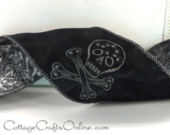 "Halloween Wired Ribbon 4"" Skull and Crossbones Black Hopsack, Metallic Embroidery, Silver Back, THREE YARDS - d. stevens ""Matey"" Wired Edge"