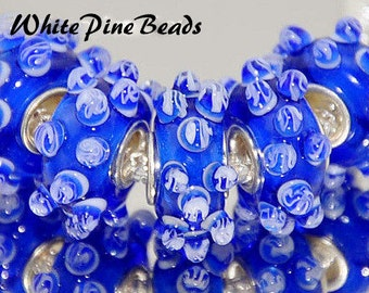 Blue and White Raised Dots Bumps  Designer Beads Murano Glass Bead Fits European  Style Bracelets