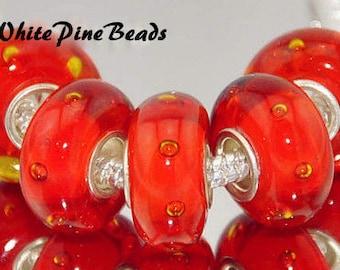 Murano Lampwork Handmade Red Orange Gold  Glass Bead for European Style Charm Bracelets