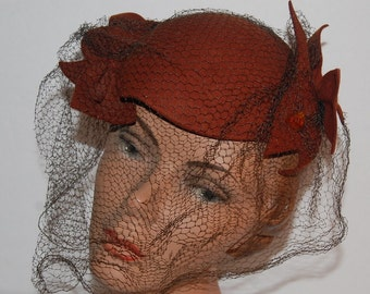 Vintage 40s Brown Felt Hat with Veil A New York Creation plus Lucite Hat Pin