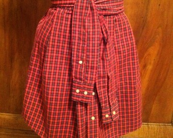 Skirt, Button Front, Handmade from Recycled Man's Dress Shirt, Red and Black Plaid, Tie at Waist