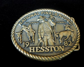 1982 National Finals Rodeo All Around Cowboy Buckle, Hesston NFR Buckle 8th Edition Collector's Buckle, Cowboy Buckle, Western Buckle