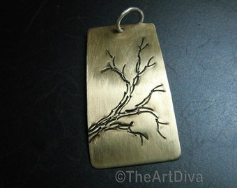 Tree Necklace, handstamped tree branch, antiqued hand drawn brass pendant with soft brushed finish