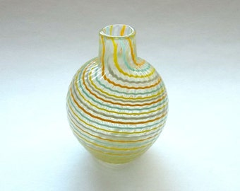 Small Bud Vase - Orange Lime Blue stripe : Disaster Relief