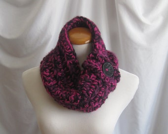 Cowl Chunky Neckwarmer Bulky Button Crochet:  Black, Hot Pink and Purple with Black Button